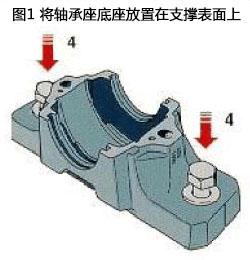 将轴承座底座放置在支撑表面上